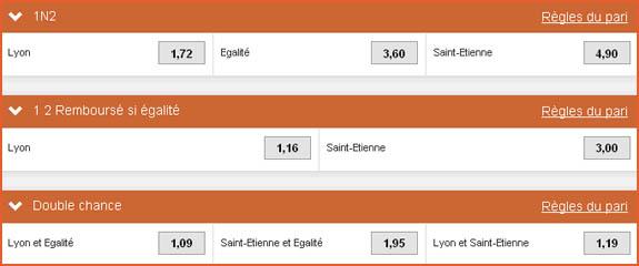 Pari « double chance » du PMU sur le match Lyon - Saint-Étienne comparé à notre pari maison