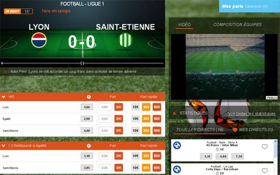 Ecran PMU pour parier en direct sur le derby : Lyon – Saint-Étienne