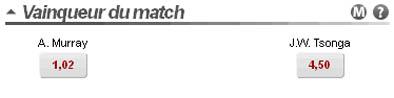 TRJ sur le pari du vainqueur d'un match de tennis chez Betclic