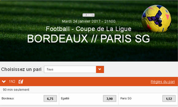 Exemple de cash-out sur le pari 1N2 Bordeaux-PSG en Coupe de la Ligue